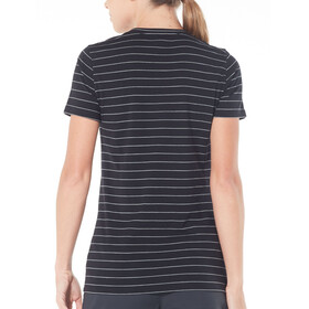 Icebreaker Tech Lite SS Scoop Shirt Dame black/snow/stripe